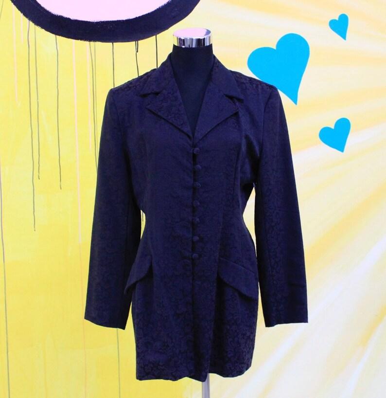 76d10a3e8a9 Vintage 80s 90s Black Embossed Jacket 80s fashion 90s