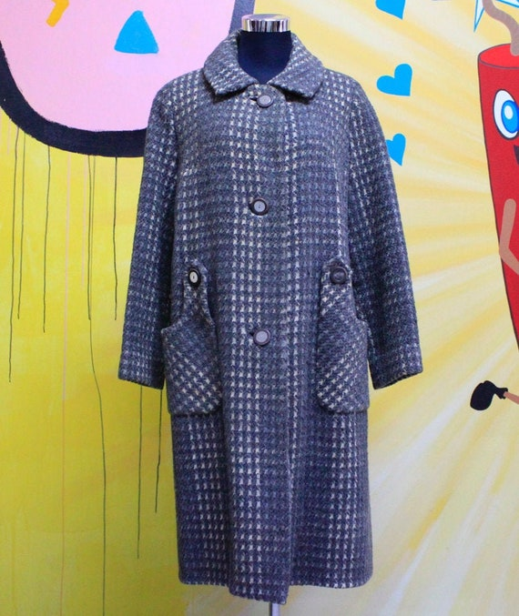 Vintage, Winter, Coat, Grey, Tweed, 60s fashion, 6