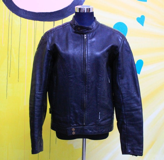 Vintage, 80s, 90s, Black, Leather, Biker Jacket, u