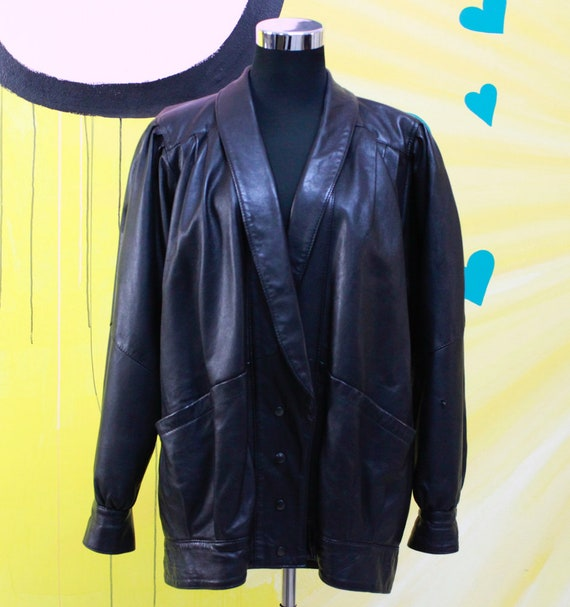 Vintage, 80s, 90s, Black, Leather Jacket, unisex,