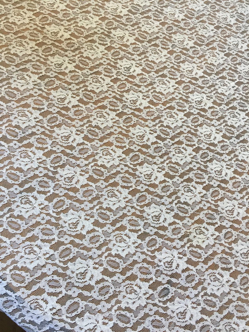 Vintage Shabby Chic Lace Tablecloth Ivory 80 x 65