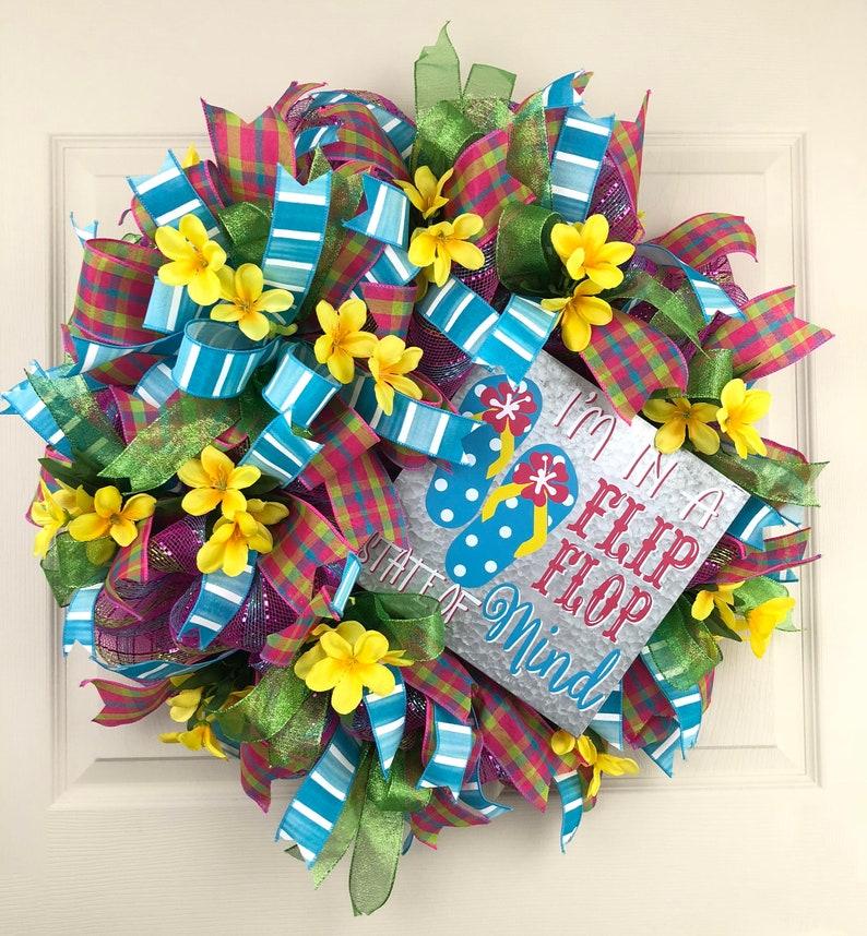 3db2af5b3 Summer Wreath for Front Door Flip Flop Wreath Summer Wreath