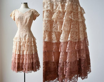 1950s Party Dress / 1950s Lace Dress / Pink Lace Ombre Party Dress / Drop Waist Dress / Lace Ruffle Dress Small / 1950s Ombre Dress