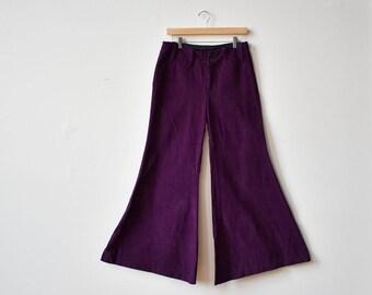 1960s Extreme Bell Bottoms / Low Rise Bell Bottoms / Purple Velour Bells / Boho Bell Bottoms / Janis Joplin Bells