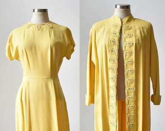 Vintage Yellow Cocktail Dress w Matching Jacket / 2pc Vintage Outit / Linen Cocktail Dress / Rhinestones / Dress and Jacket Small