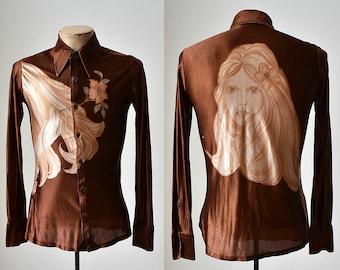 1970s Polyester Button Up / Portrait Shirt / Wacky 70s Shirt / Brown Silky Shirt / Vintage Augie Shirt