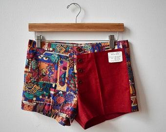 Vintage Hot Pants / Short Shorts / Patched Shorts / Boho Shorts / Hippie Shorts / Color Blocked / 1960s Hot Pants / XS Vintage Shorts