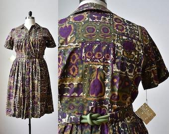 1950s Abstract Cotton Dress / 50s Shirt Dress /  1950s Plus Sized Dress / 1950s Dress Large / 1950s Dress XL