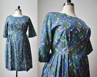 1950s Cocktail Dress / 50s Cocktail Dress /  1950s Plus Sized Dress / 1950s Dress Large / 1950s Dress XL