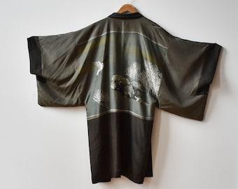 Vintage Kimono / Long Kimono / Olive Green and Black Kimono / Bird Landscape / Japanese Landscape Scene / Large Kimono