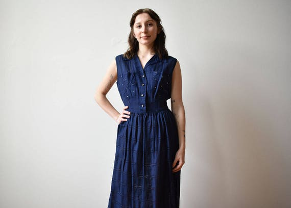 1950s Blue Cocktail Dress / 1950s Party Dress / Na