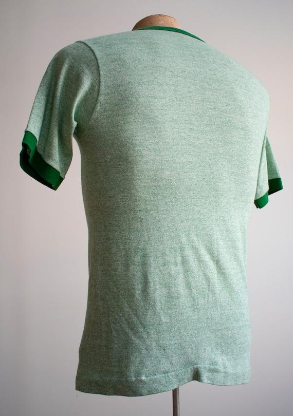 1970s Blank Ringer Tshirt / Vintage Green Ringer … - image 8