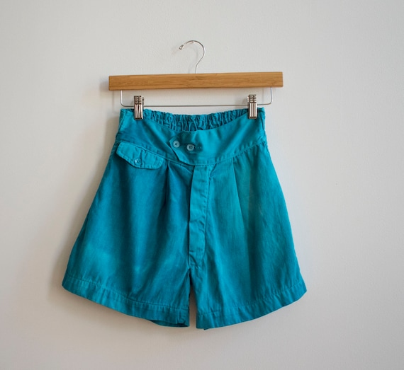Blue Bullseye Bill Cotton Gym Shorts / Linen Summe