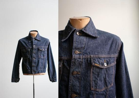 Vintage Sears Roebuck Denim Jacket / Dark Denim Ja