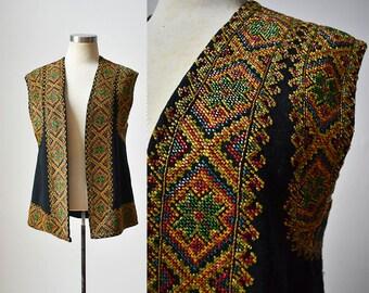 1960s Wool Beaded Vest / Incredible Vintage Beaded Vest / Hippie Vest / Boho Vest / Intricate Beaded Vest / 1960s Vintage Vest / Wool Vest