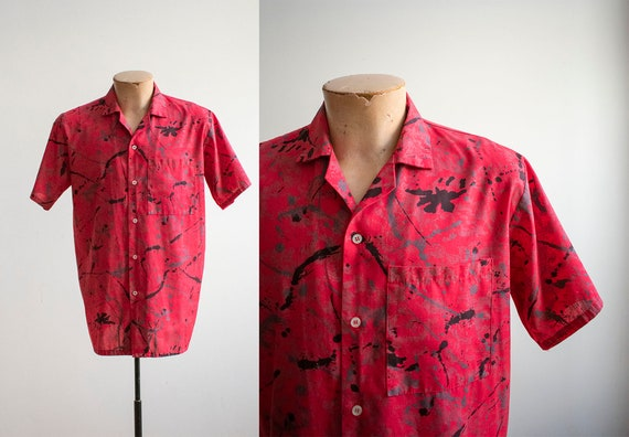 Vintage 1980s Button Up Shirt / Paint Splattered S