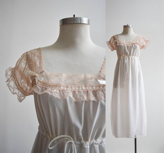 1970s Long White Lace Nightgown