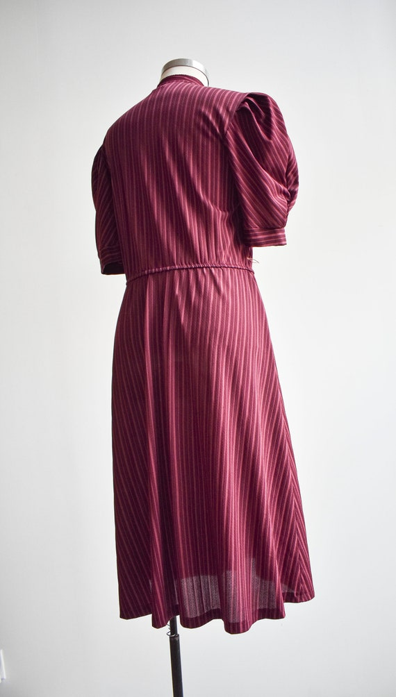 70s Maroon Striped Shirt Dress - image 7