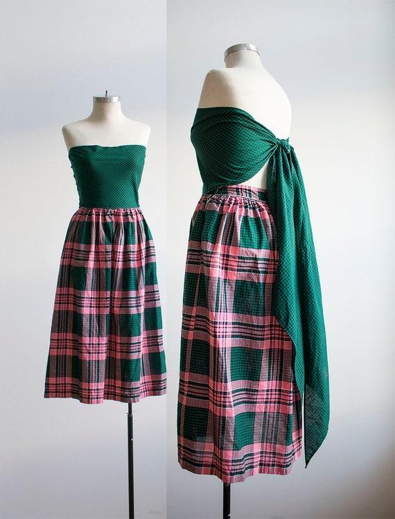Vintage 1950s Cotton Day Dress / Vintage Plaid Dre