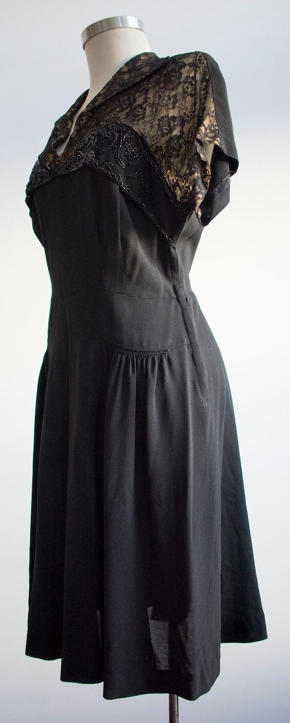 Vintage 1940s Black Cocktail Dress / Black Lace C… - image 5