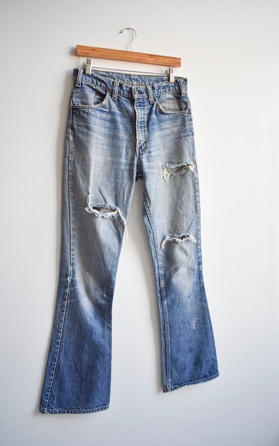 Vintage Levis Orange Tab Big E Bell Bottom Jeans - image 3