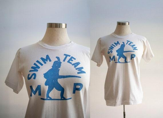 Vintage 1960s Tshirt / 1960s Swim Team Tee / Vinta