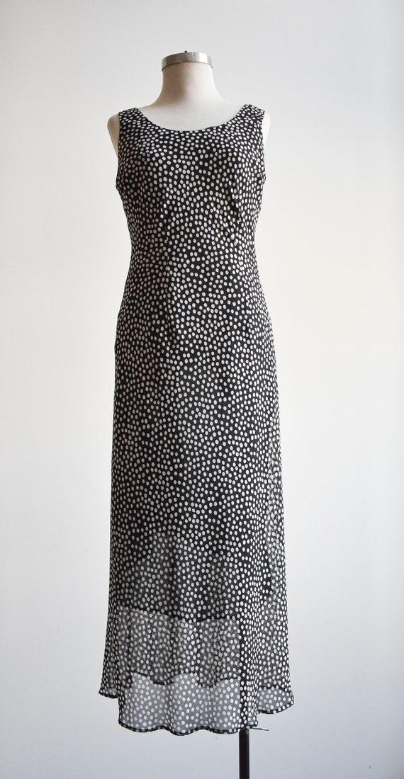 90s Black and White Polka Dot Maxi Dress - image 2