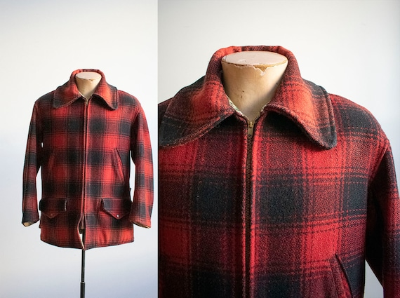 Vintage Red and Black Plaid Hunting Jacket / 1940s