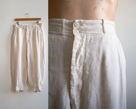 Antique White Linen Knickers / True Vintage Britch