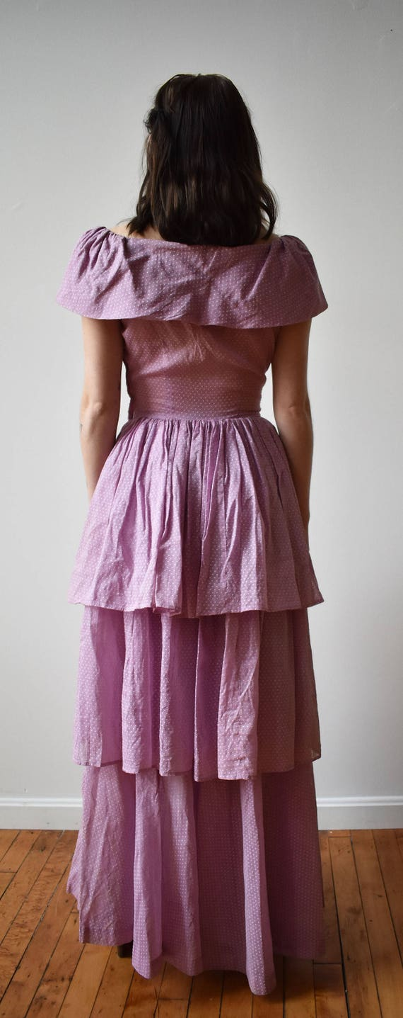 Vintage 1940s Gown / Purple Swiss Dot Gown / Polk… - image 8