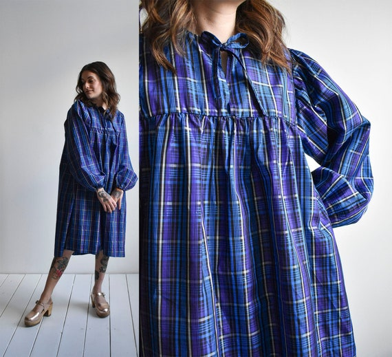 Vintage Plaid Smock Dress
