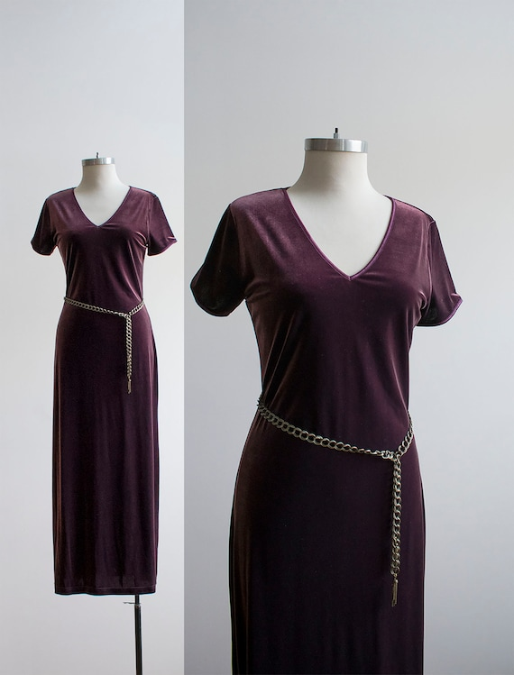 Vintage Purple Dress / Long Purple Dress / Vintage