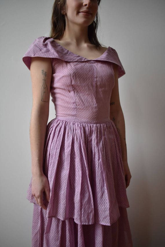 Vintage 1940s Gown / Purple Swiss Dot Gown / Polk… - image 4