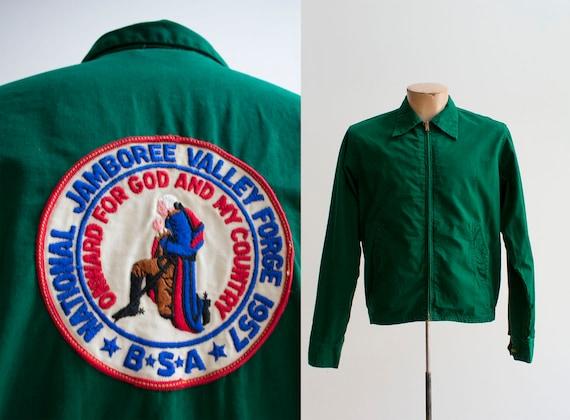 Green 1950s Boy Scouts of America Jacket / Boy Sco