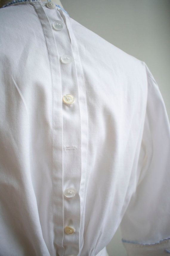 Vintage Edwardian Blouse / White Cotton Embroider… - image 9