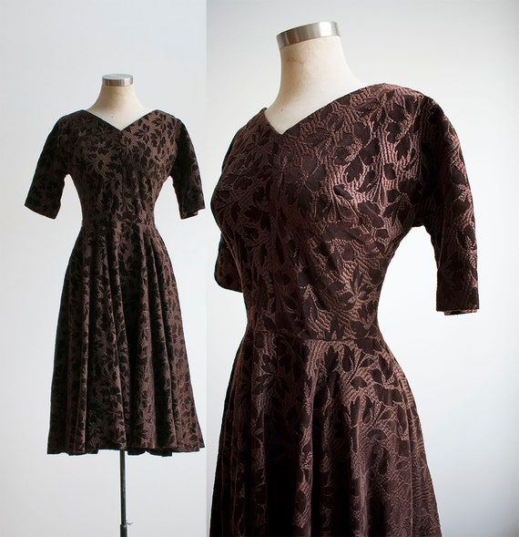 Vintage 1950s Winter Holiday Dress / Tapestry Dres
