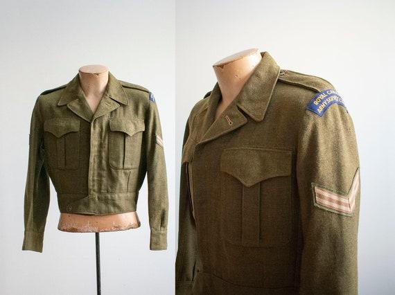 Vintage 1950s Military Jacket / Wool Ike Jacket /