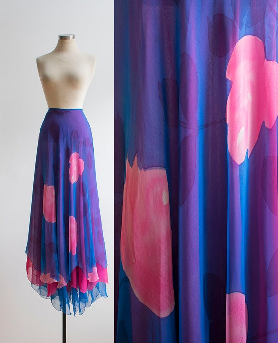 Vintage 1970s Flutter Skirt / Pink and Blue Flutte