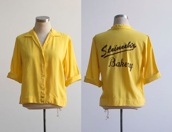 Vintage Bowling Shirt / Embroidered Bowling Shirt