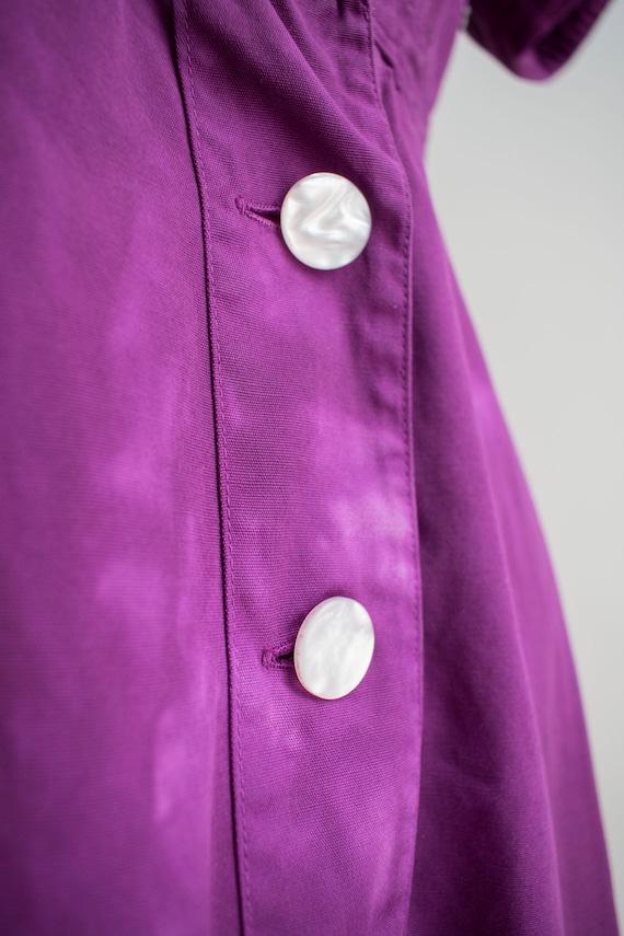 1960s Uniform Dress / Hand Dyed Purple Dress / Pu… - image 5