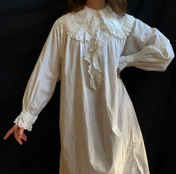 Edwardian Lace Cotton Nightgown