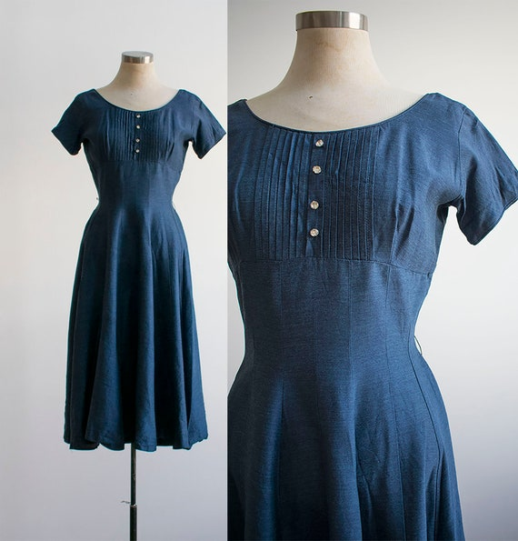 1950s Cocktail Dress / Blue Cocktail Dress / XS Vi