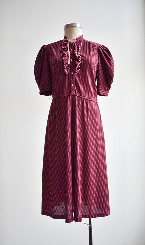 70s Maroon Striped Shirt Dress - image 2