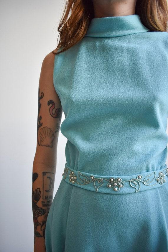1970s Pale Blue Mini Dress - image 6