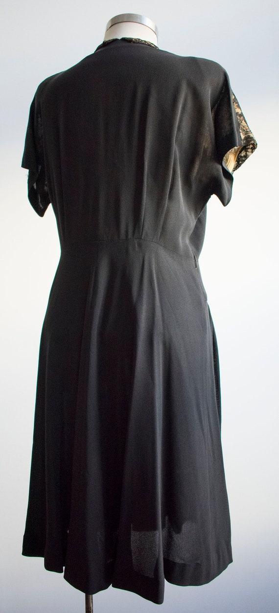 Vintage 1940s Black Cocktail Dress / Black Lace C… - image 8