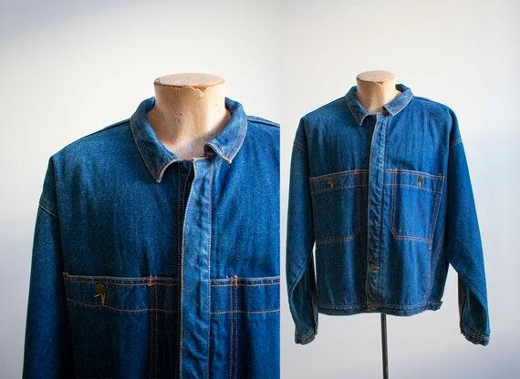 Vintage Denim Chore Coat / Vintage Jean Jacket Lar