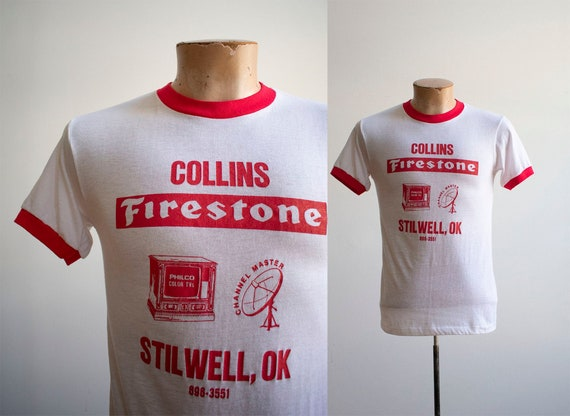 Vintage 1970s Ringer Tshirt / Vintage Red and whit