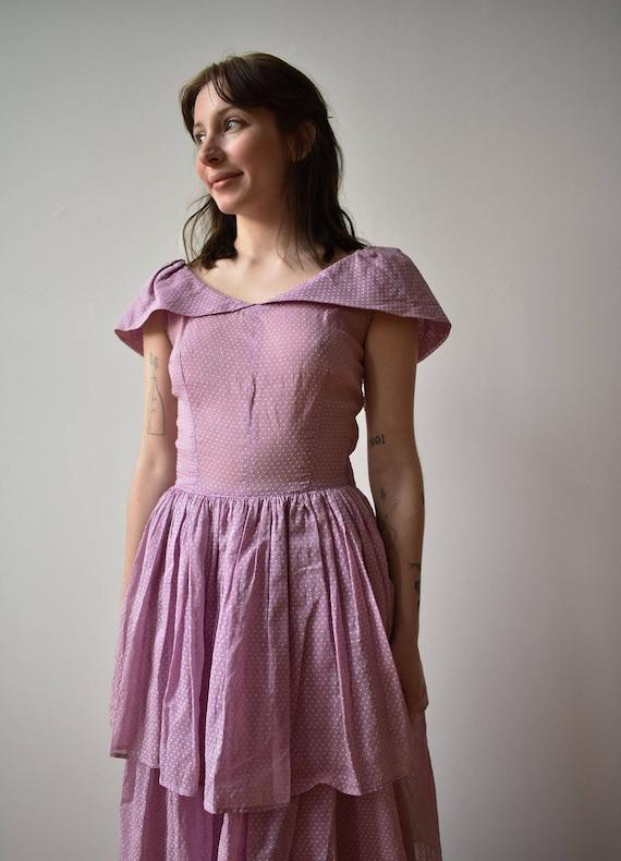 Vintage 1940s Gown / Purple Swiss Dot Gown / Polk… - image 5