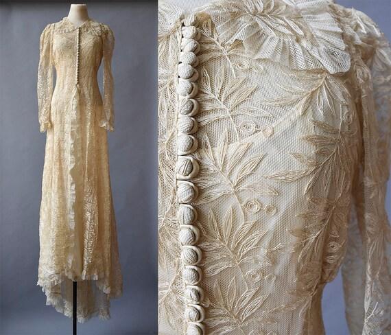 Edwardian Wedding Gown / True Antique Lace Gown /