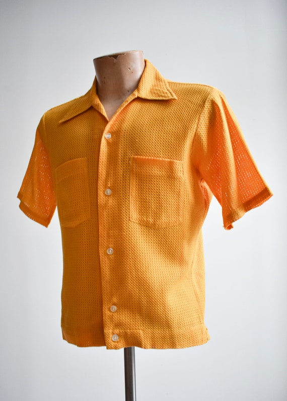 1960s Mesh Mustard Yellow Button Down Shirt - image 9
